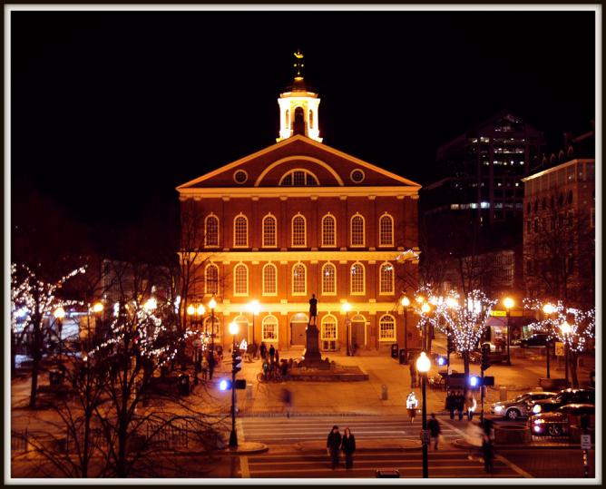 Boston Faneuil Hall Marketplace at night