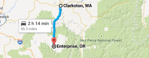 Clarkston WA Motorcycle Route