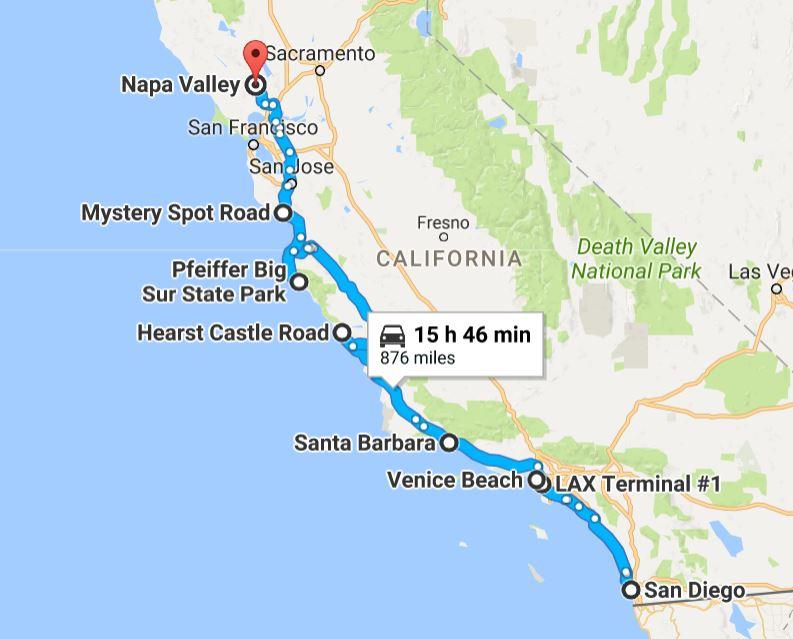 CA Route 1 Road Trip LAX to SFO