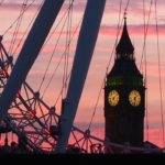 London Eye and Big Ben at Sunset