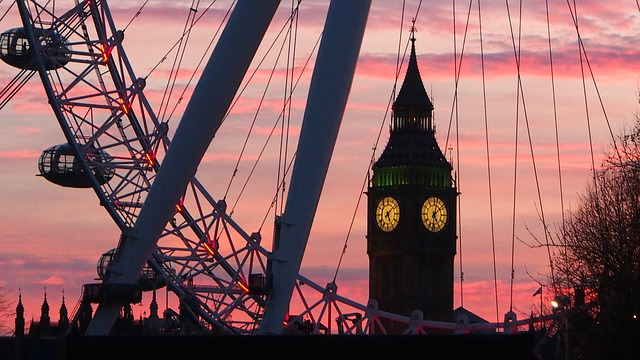 London Eye and Big Ben at Sunset