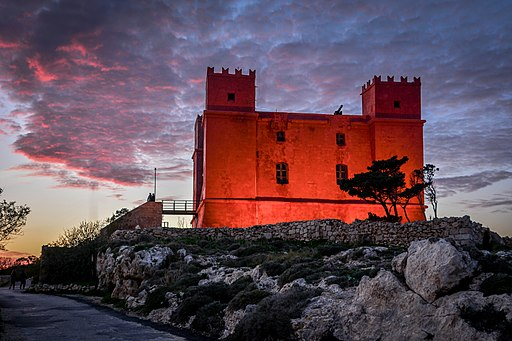 Dusk at the Red Tower Malta