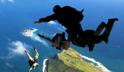 Sky Diving Over Hawaii